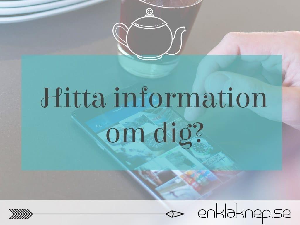hitta information om dig