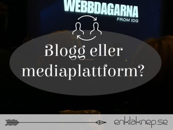 Om webbdagarna och mediaplattform